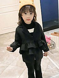 cheap -Girls' Solid Suit & Blazer,Cotton Rayon Winter Fall Long Sleeve Ruffle Black Camel Wine