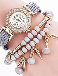 Mulheres Relógio de Moda Bracele Relógio Simulado Diamante Relógio Chinês Quartzo imitação de diamante PU Banda Amuleto Casual Elegant