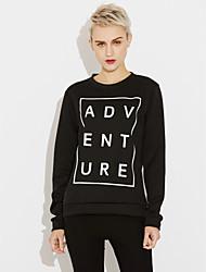 preiswerte -Damen Pullover Übergröße Lässig/Alltäglich Aktiv Buchstabe Rundhalsausschnitt Mikro-elastisch Baumwolle Acryl Langarm Herbst Winter