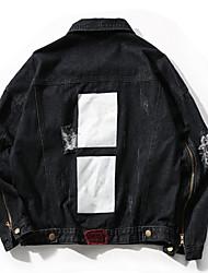 cheap -Men's Vintage Plus Size Denim Jacket Oversized Print Embroidered