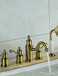 levne -Vana a sprcha Keramický ventil Tři Rukojeti pěti jamkách Bronzová, Vanová baterie