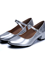 cheap -Women's Kids' Dance Shoes PVC Leather Leatherette Heel Beginner Silver Customizable