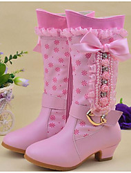 cheap -Girls' Shoes Leatherette Winter Comfort Snow Boots Boots Mid-Calf Boots For Casual Pink