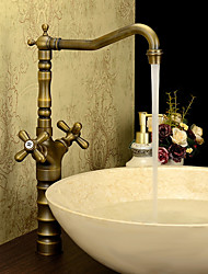 Antique Classic Style Centerset High Quality Brass Valve Two Handles One Hole Antique Brass , Bathroom Sink Faucet