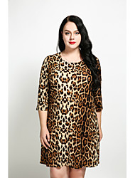 cheap -Women's Plus Size A Line Loose Shift Dress - Leopard