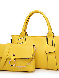 cheap -Women's Bags PU Bag Set 2 Pieces Purse Set Zipper for Casual All Seasons Blue Black Yellow Wine