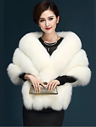 cheap -Women's Daily Simple Casual Winter Fall Short Fur Coat,Solid V Neck Faux Fur