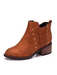 Недорогие -Для женщин Обувь Бархатистая отделка Осень Зима Модная обувь Ботинки На толстом каблуке Круглый носок Ботинки Заклепки Молнии Назначение