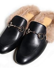 Femme Chaussures Cuir Nappa Cuir Printemps Automne Confort Sabot & Mules Pour Décontracté Noir