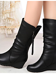 cheap -Women's Shoes Nappa Leather Fall / Winter Fashion Boots Boots Flat Heel Booties / Ankle Boots / Mid-Calf Boots Black