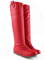 Women's Shoes PU Fall Winter Fashion Boots Boots Chunky Heel Square Toe Mid-Calf Boots For Casual Red Brown Black White