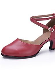 cheap -Women's Modern Cowhide Heel Professional Buckle Cuban Heel Gold Black Silver Drak Red