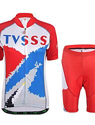 Maillot et Cuissard de Cyclisme Femme Manches Courtes Vélo Shirt Maillot Shorts Rembourrés Ensemble de Vêtements Léger Térylène LYCRA®