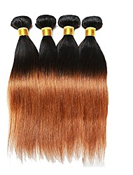 cheap -4 Bundles Brazilian Hair Remy Human Hair Human Hair Weaves Human Hair Extensions Women's / Straight