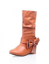 abordables -Femme Chaussures Similicuir Printemps Hiver Bottes à la Mode Bottes Talon Compensé Bout rond Bottes Mi-mollet Noeud Pour Mariage Blanc