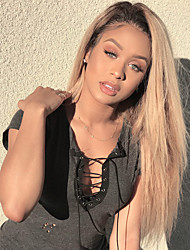 cheap -Guanyuwigs® 3Bundles Brazilian Virgin Hair With one 13*4 Lace Frontal 1B/27 Ombre Straight Strawberry Blonde Hair