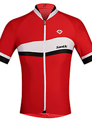 cheap -SANTIC Men's Short Sleeve Cycling Jersey British Bike Ultraviolet Resistant, Breathable, Sweat-wicking Polyester