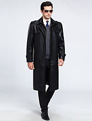Men's Casual/Daily Vintage Fall Winter Leather Jackets,Solid Shirt Collar Long Sleeve Long Lambskin