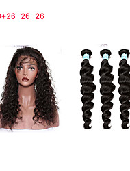 cheap -360 Lace Frontal With Bundle Pre Plucked 8A Loose Wave 360 Lace Frontal Closure With Bundles Peruvian Virgin Lace Frontal Weave