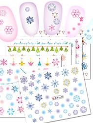 Недорогие -1 Стикер искусства ногтя С рисунком Аксессуары Уход Крепеж на поверхности Ар деко / Ретро Наклейка для переноса воды 3-D Рождество Новый