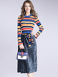 cheap -DFFD Women's Daily Holiday Vintage Boho Winter Fall Sweater Skirt Suits,Striped Round Neck Long Sleeve Micro-elastic