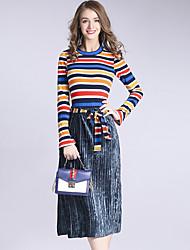 Feminino Suéter Saia Conjuntos Feriado Casual Vintage Boho Outono Inverno,Listrado Decote Redondo Manga Longa Micro-Elástica