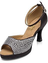 Недорогие -Для женщин Латина Шёлк Концертная обувь С пряжкой На шпильке Черный 6 см 8,5 см 9 см Персонализируемая