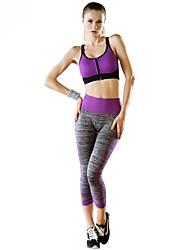 baratos -Mulheres Conjunto de Sutiã Esportivo com Calça Secagem Rápida, Esticar, Respirabilidade Conjuntos de Roupas para Ioga / Casual /