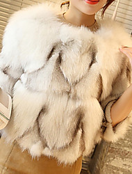 cheap -Women's Going out Street chic Winter Fur Coat,Solid Round Neck Long Sleeve Short Fox Fur
