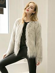 Cappotto di pelliccia Da donna Per uscire Casual Romantico Attivo Sensuale Inverno,Tinta unita Rotonda Cashmere Lana Standard Manica lunga