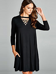 cheap -Women's Daily Work Casual Loose Dress,Solid V Neck Above Knee Long Sleeves Polyester All Seasons Mid Rise Micro-elastic Opaque