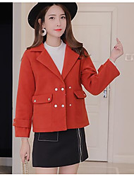cheap -Women's Daily Going out Street chic Winter Fall Jacket,Solid Peaked Lapel Regular Cashmere