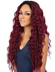 cheap -Women Synthetic Wig Capless Long Kinky Curly Black/Red Ombre Hair Natural Wigs Costume Wig