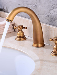 Widespread with Stand with  Brass Valve Two Handles Three Holes for  Antique Copper , Bathroom Sink Faucet