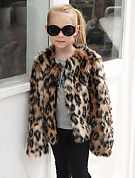 Girls' Leopard Jacket & Coat,Wool Rabbit Fur Raccoon Fur Winter Fall Long Sleeve Brown