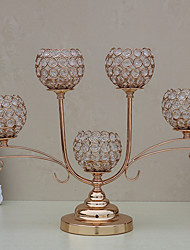 European-Style Creative Fashion Crystal Candle Holder Model Room Metal Furnishings