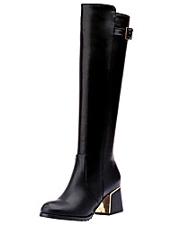 cheap -Women's Shoes Leatherette Fall Winter Fashion Boots Boots Chunky Heel Round Toe Closed Toe Knee High Boots Buckle Zipper For Casual