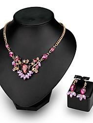 Women's Necklace Bracelet Crystal Rhinestone Luxury Fashion Wedding Party Crystal Rhinestone Drop Necklace Earrings