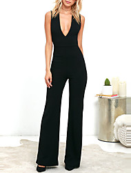 cheap -Women's Party Club Vintage Sexy Solid Deep V Jumpsuits,Wide Leg Sleeveless Summer Fall Polyster