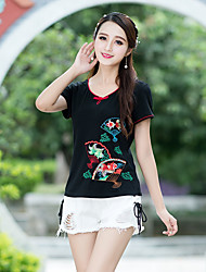 cheap -Women's Daily Chinoiserie T-shirt,Embroidery Round Neck Short Sleeves Cotton