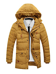 cheap -Men's Regular Parka Coat,Casual Daily Plus Size Solid Color Block-Cotton Rayon Long Sleeves