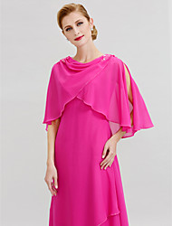 cheap -A-Line Cowl Neck Floor Length Chiffon Mother of the Bride Dress with Beading by LAN TING BRIDE®