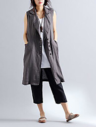 Women's Casual/Daily Simple Fall Vest,Solid Peaked Lapel Sleeveless Long Others