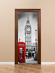 cheap -77*200cm 3D Door Mural Stickers British Big Ben Red Telephone Booth Street Wall Mural Home Decoration City Scenery People Visiting Sticker Decal
