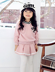 cheap -Girls' Solid Striped Color Block Clothing Set,Cotton Spring Fall Long Sleeve Striped Skirts Outfits Active Casual/Daily Trousers Korean