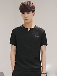 cheap -Men's Going out Casual T-shirt,Solid V Neck Short Sleeves Linen
