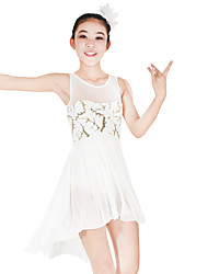 economico -Balletto Vestiti Per donna Per bambini Esibizione Elastico Elastene Con strass Licra Paillettes Senza maniche Naturale Abiti Accessori