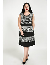 cheap -Cute Ann Women's Daily Plus Size Cute Sexy A Line Dress,Color Block Round Neck Knee-length Sleeveless Cotton Polyester Fall All Seasons Mid Rise