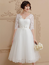 A-Line V-neck Tea Length Lace Tulle Wedding Dress with Pleats by Amgam