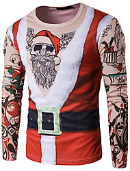 Men's Daily Street chic T-shirt,Print Round Neck Long Sleeves Polyester